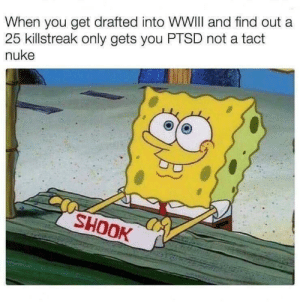 Memes, Ptsd, and Via: When you get drafted into WWIlI and find out a  25 killstreak only gets you PTSD not a tact  nuke  SHOOK Tactical nuke incoming! via /r/memes https://ift.tt/2PL4Znn