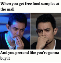 Memes, 🤖, and Pretenders: When you get free food samples at  the mall  And you pretend like you're gonna  buy it Twitter: BLB247 belikebro sarcasm Follow @be.like.bro