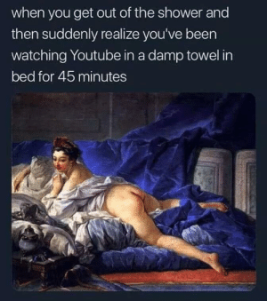 Shower, youtube.com, and MeIRL: when you get out of the shower and  then suddenly realize you've been  watching Youtube in a damp towel in  bed for 45 minutes meirl