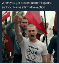 Earth, Potter, and Hogwarts: When you get passed up for Hogwarts  and you blame affirmative-action  ATE <p>Mr. Potter what on earth are you doing</p>