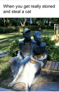 Cat, You, and Kitty: When you get really stoned  and steal a cat The statues really came through for this kitty