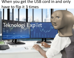 Technology god: When you get the USB cord in and only  have to flip it 3 times  65.32  Teknologi Expirt  623  4.52  9923  75.28 Technology god