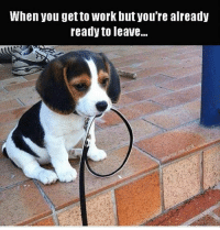 When you get to Work butyou're already  ready to leave.