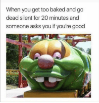 Baked, Funny, and Lol: When you get too baked and go  dead silent for 20 minutes and  someone asks you if you're good Lol Tag this face