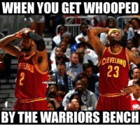 Nba, Bench, and  Benches: WHEN YOU GET WHOOPED  CLEVELAND  @NBAMEMES  BY THE WARRIORS BENCH Not even by Klay or Steph!