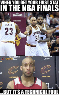 Dahntay Jones' contribution in the NBA Finals.: WHEN YOU GET YOUR FIRST STAT  IN THE NBA FINALS  ONBAMEMES  DAMES  eveland  Clinic  C /CAVS 1Clinic  OM  nd  CAVS COM  CAVS. CO  land  BUT ITS ATECHNICAL FOUL Dahntay Jones' contribution in the NBA Finals.