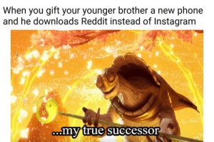 Instagram, Phone, and Reddit: When you gift your younger brother a new phone  and he downloads Reddit instead of Instagram  my true successor