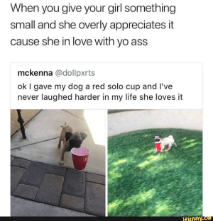 Ass, Life, and Love: When you give your girl something  small and she overly appreciates it  cause she in love with yo ass  mckenna @dollpxrts  ok I gave my dog a red solo cup and I've  never laughed harder in my life she loves it  ifunny.co