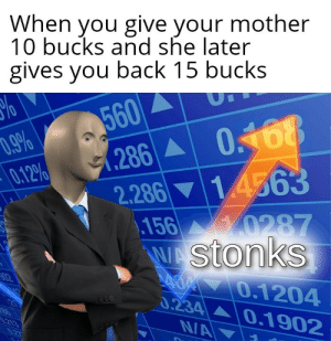 Back, Mother, and Easy: When you give your mother  10 bucks and she later  gives you back 15 bucks  560  .286 0168  14563  D.9%  0.12%  2.286  156 0287  WAStonks  A 0.1204  0.234 0.1902  02  213  NA  0.2T Easy profit