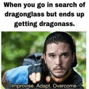 Dank, Memes, and Target: When you go in search of  dragonglass but ends up  getting dragonass.  Improvise. Adapt. Overcome Jon snow by boobzilla77 FOLLOW 4 MORE MEMES.