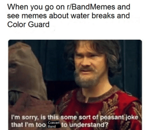 haha I get to sit down when I play: When you go on r/BandMemes and  see memes about water breaks and  Color Guard  I'm sorry, is this some sort of peasant joke  that I'm too ander to understand? haha I get to sit down when I play