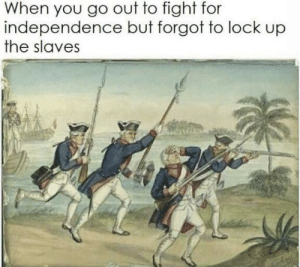 independence: When you go out to fight for  independence but forgot to lock up  the slaves