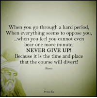 Memes, Prince, and Rumi: When you go through a hard period,  When everything seems to oppose you,  when you feel you cannot even  bear one more minute,  NEVER GIVE UP!  Because it is the time and place  that the course will divert  Rumi  Prince Ea Don't ever give up.