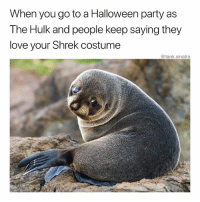 Candy, Funny, and Halloween: When you go to a Halloween party as  The Hulk and people keep saying they  love your Shrek costume  @tank.sinatra Where's the candy bowl I need to eat these feelings