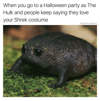 Funny, Halloween, and Love: When you go to a Halloween party as The  Hulk and people keep saying they love  your Shrek costume  @tank.sinatra Where's Fiona I wanna leave
