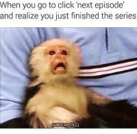 Click, Memes, and Best: When you go to click 'next episode'  and realize you just finished the series  SCREAMING) Me after Better Call Saul | Follow 👉 @girlsthinkimfunny for the best memes 🔥