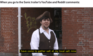 Jim Carrey, Reddit, and youtube.com: When you go to the Sonic trailer's YouTube and Reddit comments:  I have come to gather salt at my local salt mine When Eggman pissed on the moon, Jim Carrey pissed back.