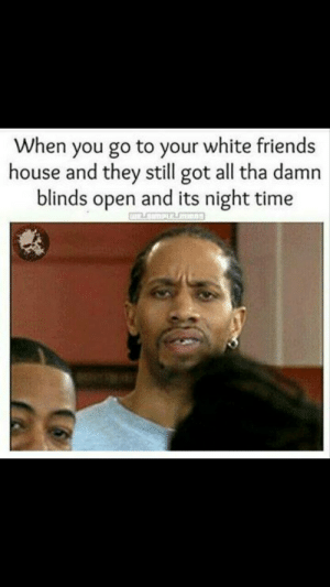 Dank, Friends, and Memes: When you go to your white friends  house and they still got all tha damn  blinds open and its night time  PLE Yall see that? by basicallycancerous MORE MEMES