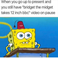 """Same 😂😂😂 Follow @dankspongebobofficial and tag a friend.: When you go up to present and  you still have """"bridget the midget  takes 12 inch bbc"""" video on pause  @dankspongebobofficial Same 😂😂😂 Follow @dankspongebobofficial and tag a friend."""