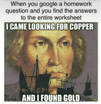 Google, Homework, and I Came: When you google a homework  question and you find the answers  to the entire worksheet  I CAME LOOKING FOR COPPER  AND I FOUND GOLD