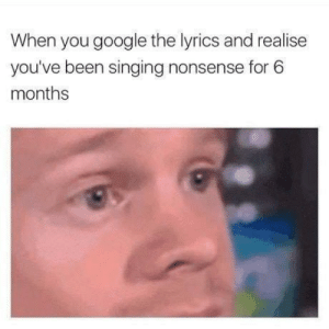 Google, Memes, and Singing: When you google the lyrics and realise  you've been singing nonsense for 6  months nochillmemes:  What song did this to you? I usually just verbally mash together a bunch of words together then come in for the kill during the chorus. You need your required daily intake of memes! Follow @nochillmemes for help now!