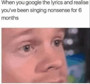 26 Relatable memes Funny - Top Memes: When you google the lyrics and realise  you've been singing nonsense for 6  months 26 Relatable memes Funny - Top Memes