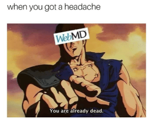 Rest in pieces by OldManoftheNorth FOLLOW 4 MORE MEMES.: when you got a headache  WebMD  You are already dead. Rest in pieces by OldManoftheNorth FOLLOW 4 MORE MEMES.