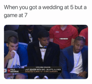 Paul George wearing a tux on opening night 😂 https://t.co/wcl2U9g9ze: When you got a wedding at 5 but a  game at 7  CLPPERS  @NBAMEMES  10TH NBA SEASON  LAST SEASON WITH OKC: 28.0 PTS, 8.2 REB  EXPECTED TO MISS 1ST 10 GMS ISURGERY)  PAUL  EA 13 GEORGE Paul George wearing a tux on opening night 😂 https://t.co/wcl2U9g9ze
