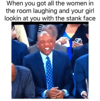 Basketball, Nba, and Sports: When you got all the women in  the room laughing and your girl  lookin at you with the stank face Switched up real quick 😂 (Via ‪UpTopCulture‬-Twitter)