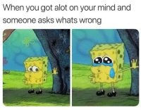 Mind, Asks, and Got: When you got alot on your mind and  someone asks whats wrong