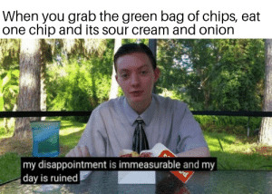 I thought it was dill pickle:(: When you grab the green bag of chips, eat  one chip and its sour cream and onion  my disappointment is immeasurable and my  day is ruined I thought it was dill pickle:(