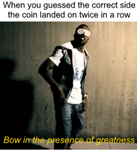 Brains, Dank Memes, and Bow: When you guessed the correct side  the coin landed on twice in a row  Bow in the presence of greatness