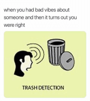 My senses are tingling.: when you had bad vibes about  someone and then it turns out you  were right  TRASH DETECTION My senses are tingling.