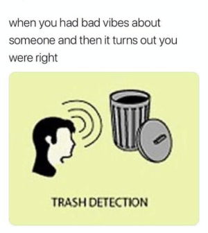 New skill unlocked.: when you had bad vibes about  someone and then it turns out you  were right  TRASH DETECTION New skill unlocked.