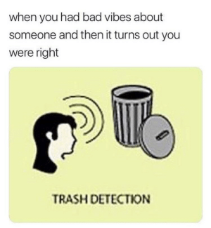 Detection: when you had bad vibes about  someone and then it turns out you  were right  TRASH DETECTION