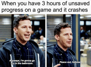 Peace homies. by RIINGO_YT MORE MEMES: When you have 3 hours of unsaved  progress on a game and it crashes  Anyways, I'm gonna go  cry in the bathroom.  Peace out, homies Peace homies. by RIINGO_YT MORE MEMES