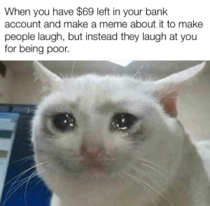 haha I'm poor!: When you have $69 left in your bank  account and make a meme about it to make  people laugh, but instead they laugh at you  for being poor. haha I'm poor!