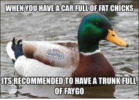 If you don't know about actual advice mallard  Listen up because that duck is always on Fuckin point! ~Murd3rUrFace: WHEN YOU HAVE A CAR FULLOF FAT CHICKS  MEMES  ITSRECOMMENDED TO HAVEATRUNKFULL  OF FAYGO If you don't know about actual advice mallard  Listen up because that duck is always on Fuckin point! ~Murd3rUrFace