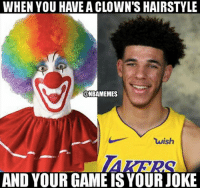 Is Lonzo a bust?: WHEN YOU HAVE A CLOWN'S HAIRSTYLE  @NBAMEMES  wish  AND YOUR GAME IS YOURJOKE Is Lonzo a bust?