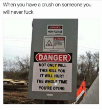 Crush, Fuck, and Time: When you have a crush on someone you  will never fuck  DANGER  HIGH VOLTAGE  A DANGER  DANGER  NOT ONLY WILL  THIS KILL YOU  IT WILL HURT  THE WHOLE TIME  YOU'RE DYING Mannnnnnn..😩🤕🤕