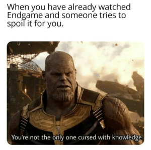 Memes, Knowledge, and Only One: When you have already watched  Endgame and someone tries to  spoil it for you.  You're not the only one cursed with knowledge