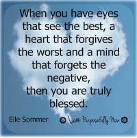 May you all be truly blessed....: When you have eyes  that see the best, a  heart that forgives  the worst and a mind  that forgets the  negative,  then you are truly  blessed  Elle Sommer  Vive purposefully  how  o May you all be truly blessed....