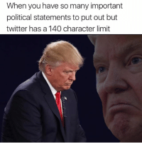 Bad, Funny, and Twitter: When you have so many important  political statements to put out but  twitter has a 140 character limit I SAD! THINGS BAD! VERY BAD!
