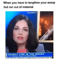 Fire, Funny, and Run: When you have to lengthen your essay  but run out of material  @zacsaffron  DEADLY FIRE  THE BRONX In conclusion, I rest my case (@zacsaffron)