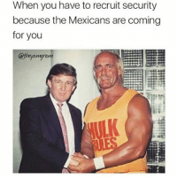 Memes, 🤖, and  the Mexican: When you have to recruit security  because the Mexicans are coming  for you 😂😂😂😂😂😂 flashbackfriday pettypost pettyastheycome straightclownin hegotjokes jokesfordays itsjustjokespeople itsfunnytome funnyisfunny randomhumor donaldtrump hulkhogan