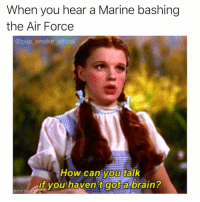 Memes, Pop, and Air Force: When you hear a Marine bashing  the Air Force  @pop_smoke_official  How can you talk  if you haven't got a brain? Fight me in the comments 💪🏼