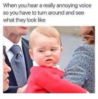 Memes, Match, and Voice: When you hear a really annoying voice  so you have to turn around and see  what they look like Does their voice match the face?