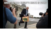 I'm trying not to mention politics at all, until maybe a couple weeks before the election - but this made me laugh! I think it will resonate with anyone who knows #WWE well enough to know what a #MITB briefcase is - whether they are a Bernie fan, a Hillary supporter or...gulp..someone voting for Trump.: WHEN YOU HEAR HILLARY S HEALTH IS FADING I'm trying not to mention politics at all, until maybe a couple weeks before the election - but this made me laugh! I think it will resonate with anyone who knows #WWE well enough to know what a #MITB briefcase is - whether they are a Bernie fan, a Hillary supporter or...gulp..someone voting for Trump.