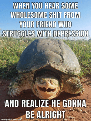 When you hear some wholesome…: WHEN YOU HEAR SOME  WHOLESOME SHIT FROM  YOUR FRIEND WHO  STRUGGLES WITH DEPRESSION  AND REALIZE HE GONNA  BE ALRIGHT  made with mematic When you hear some wholesome…