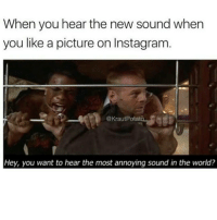 When you hear the new sound when  you like a picture on Instagram  Hey, you want to hear the most annoying sound in the world? WTFF ITS MAD ANNOYING IG FUCKING THEY SELVES UP. SOME PPL DONT HAVE IT YET YALL LUCKY.